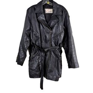 EXCELLED WMN M BLK 109% LEATHER ZIP BELTED JACKET